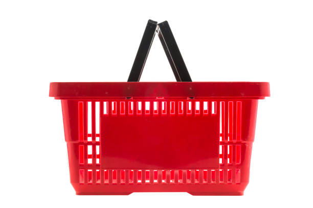 Red shopping basket stock photo