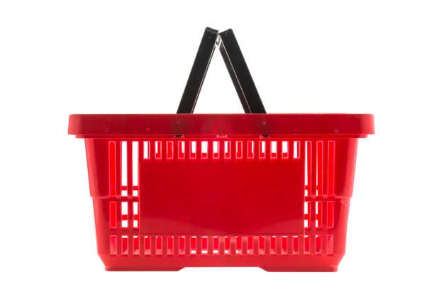 Rojo cesta de compras - foto de stock