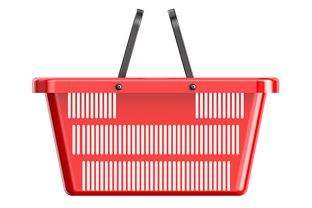 Red shopping basket Red shopping basket isolated on white background shopping basket stock pictures, royalty-free photos & images