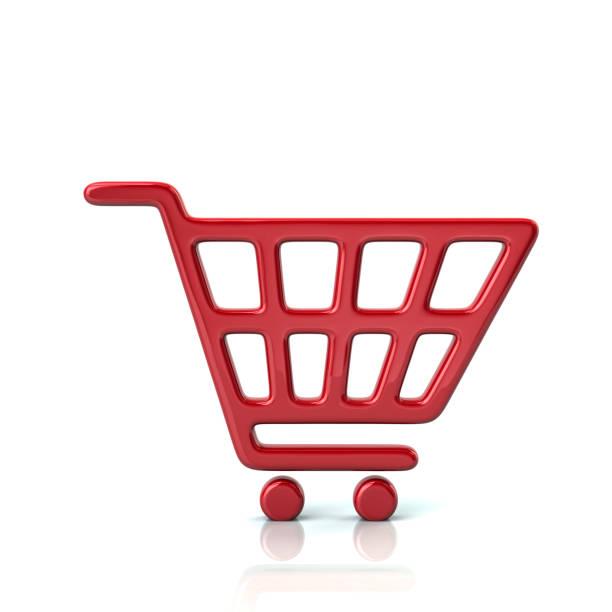 red shopping cart icon - icona supermercato foto e immagini stock