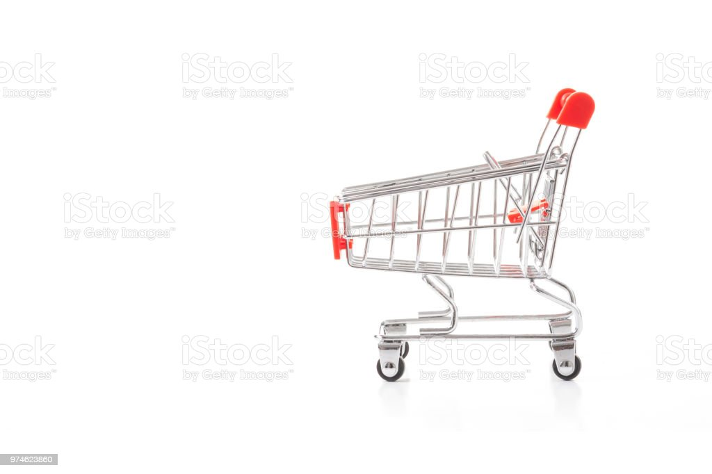 Red shopping cart on a white background. stock photo