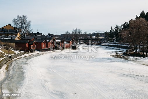 Red shore warehouses in Porvoo, Finland (winter time)
