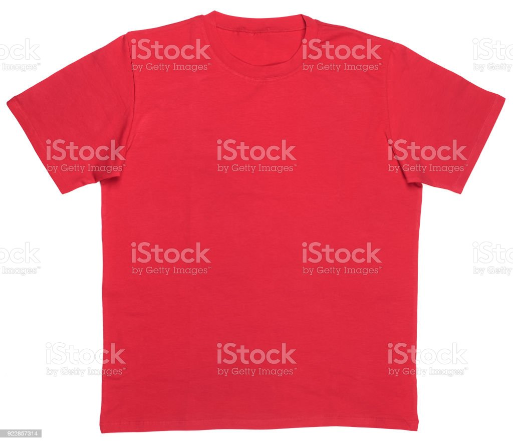 Red shortsleeve cotton tshirt template isolated stock photo