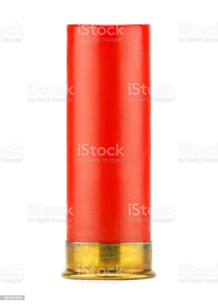 Red shotgun shell isolated on white background stock photo