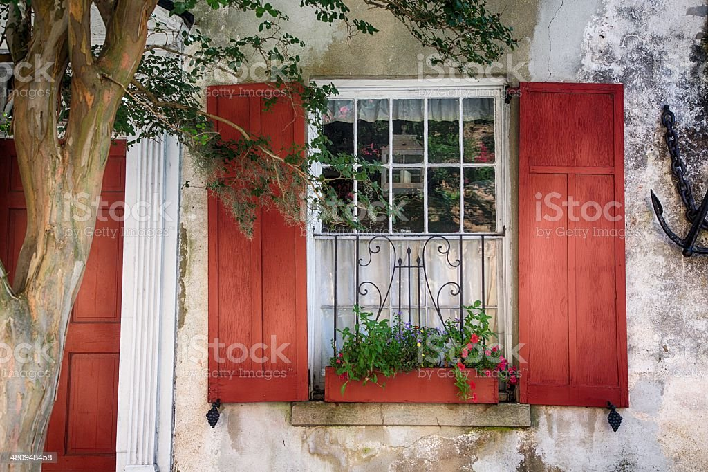 Red Shutters stock photo