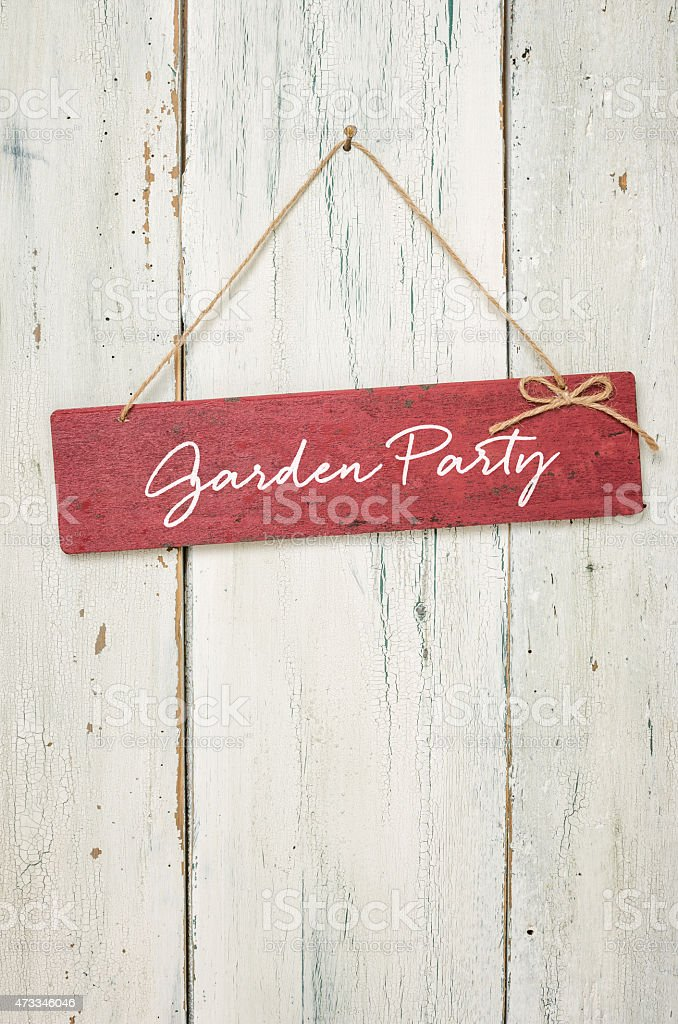 Red sign  - Garden Party stock photo
