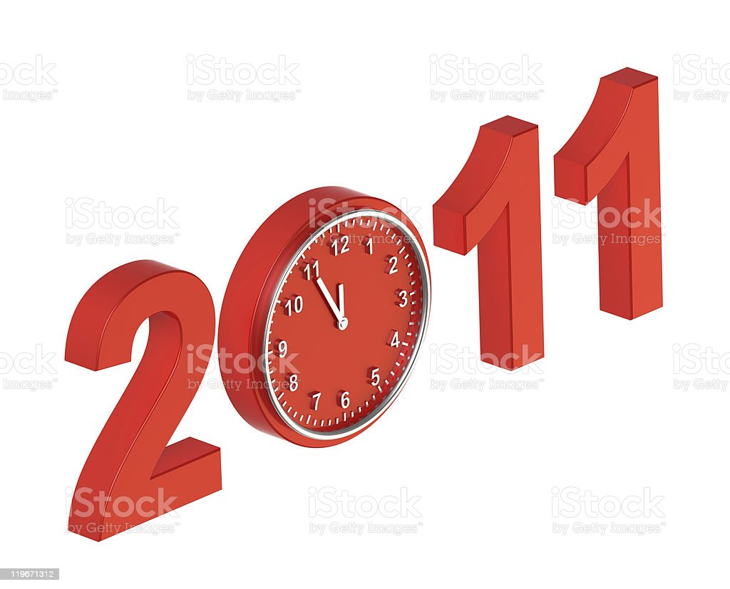 Red sign of five minutes to new year 2011 stock photo