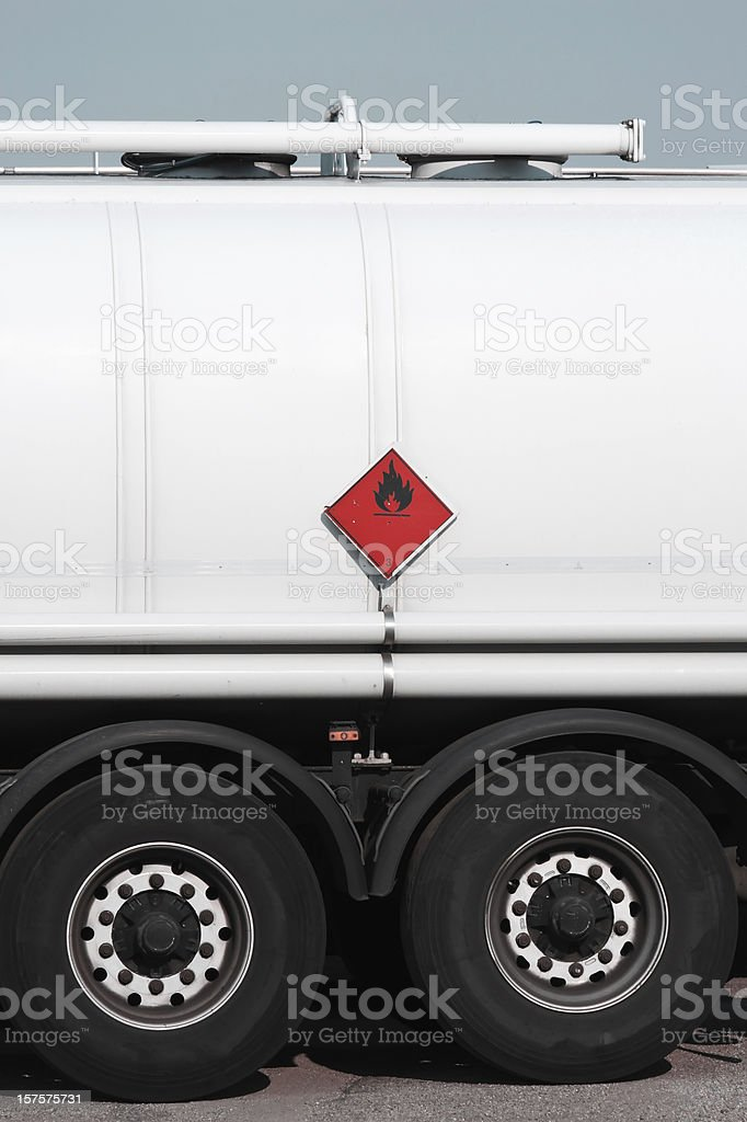 red sign on fuel tanker truck stock photo