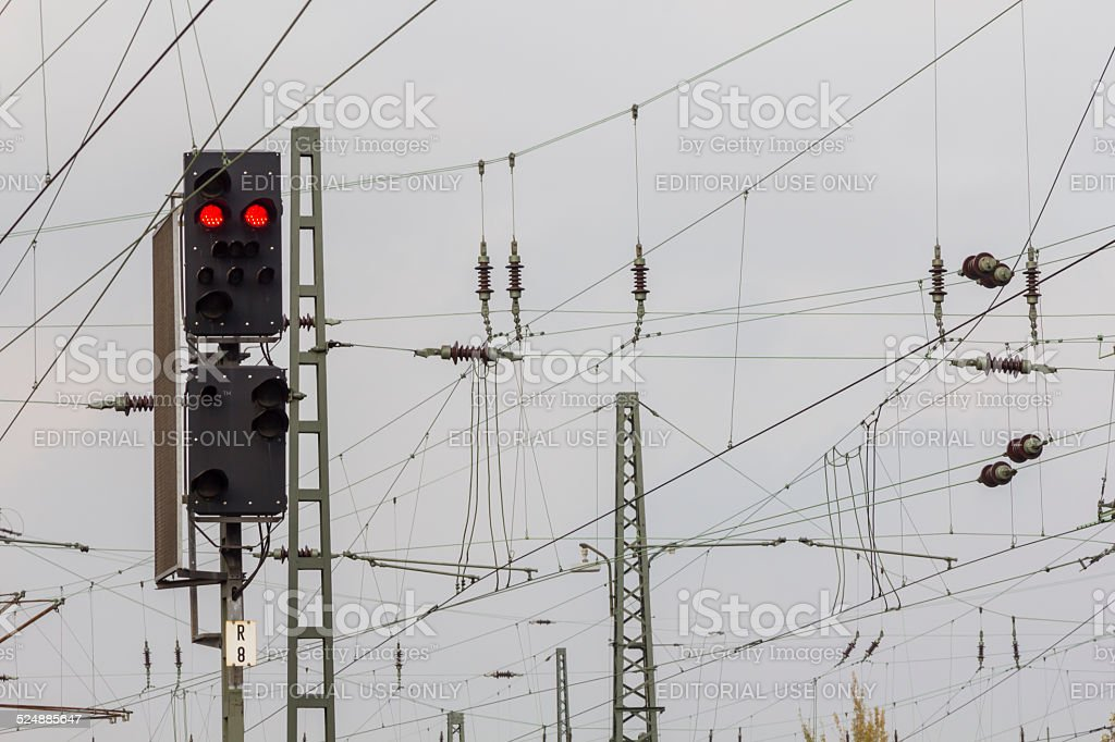 Red Signal and high voltage wires stock photo