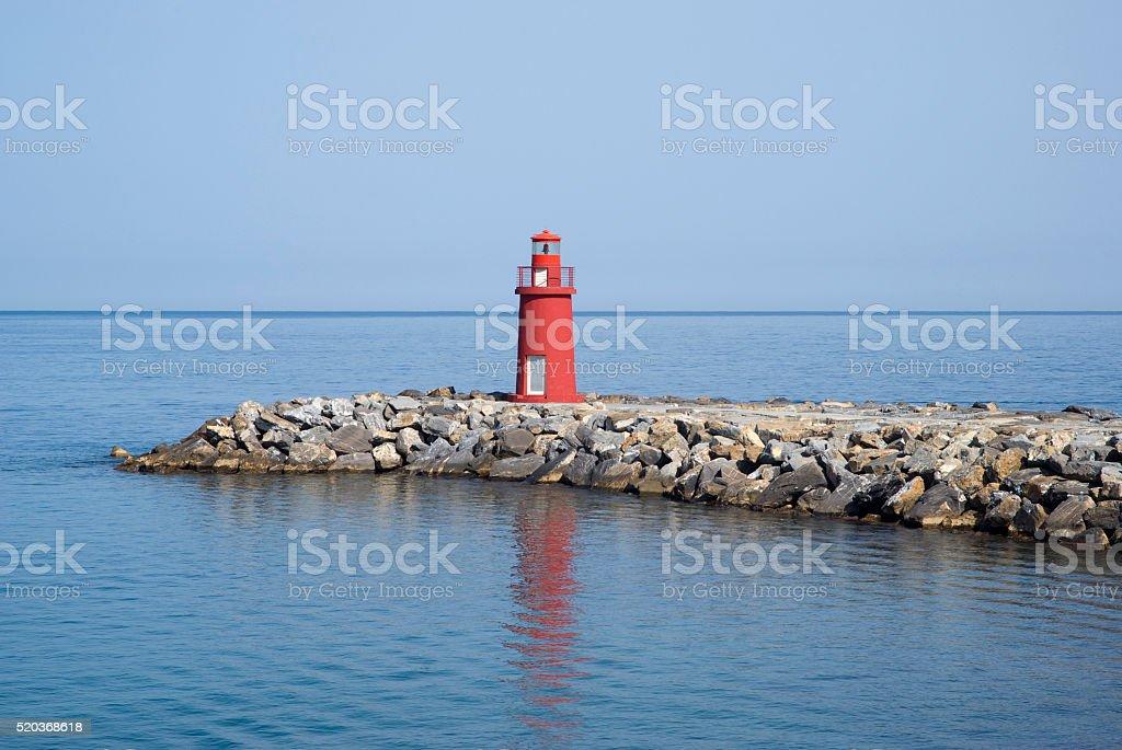 Red signal light stock photo