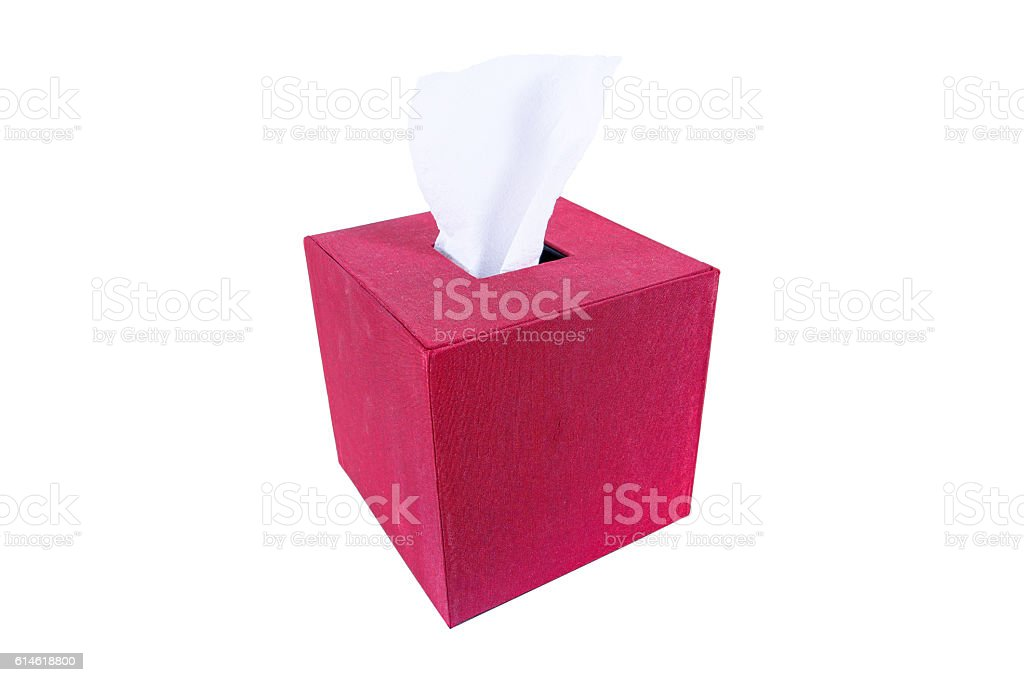 Red silk box of Tissues Isolated On White Background - Photo
