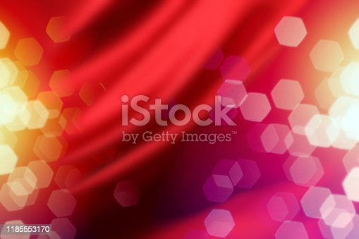 Red Silk Curtain with Defocused Lights Background