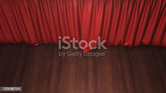 939155332 istock photo Red silk curtains closed. Theater and cinema concept. Theater stage, performance in front of the public, concert. Awards show, 3D rendering 1220367241