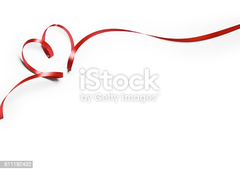 istock Red Silk Ribbon In Heart Shape On White Background 511192432