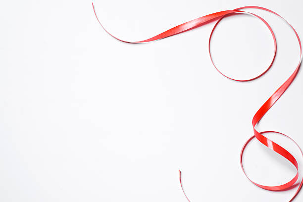 Red silk ribbon stock photo
