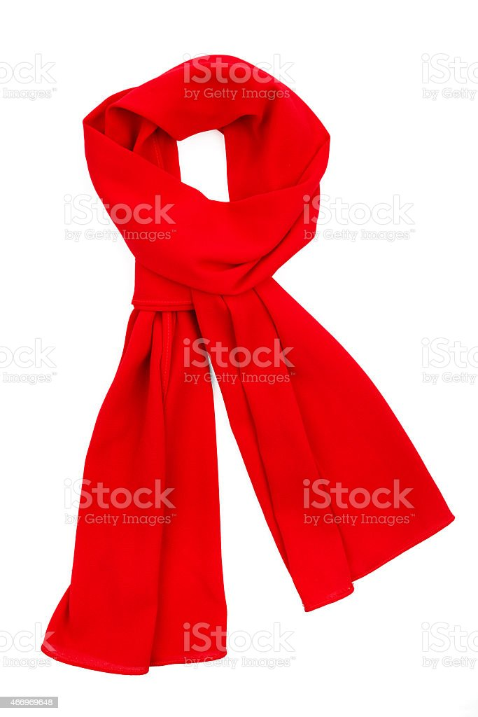 Red silk scarf isolated on white background. stock photo