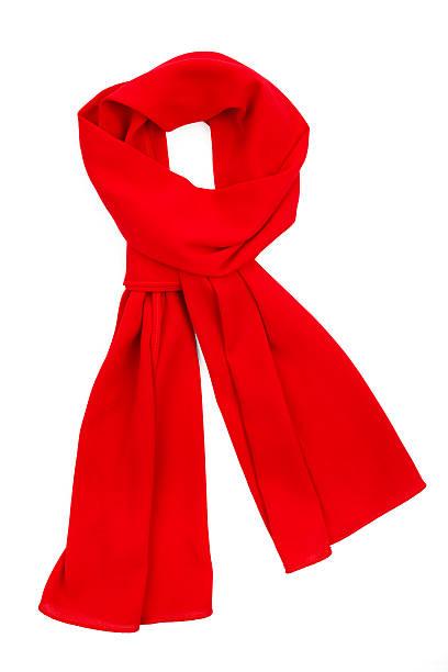cachecol de seda vermelho, isolado no fundo branco. - lenço do pescoço imagens e fotografias de stock