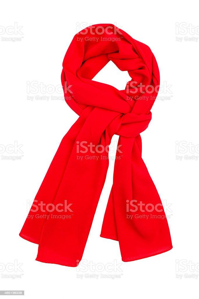 Sciarpa in seta rosso, isolato su sfondo bianco. - foto stock
