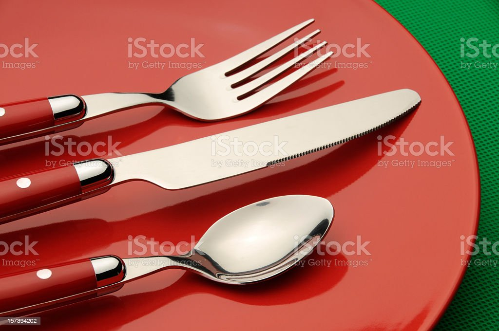 Red Silverware and Plate royalty-free stock photo
