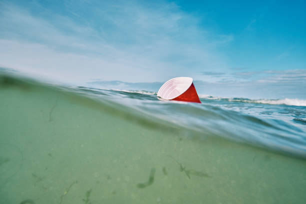 red single use plastic cup floating in the sea. - trash stock pictures, royalty-free photos & images