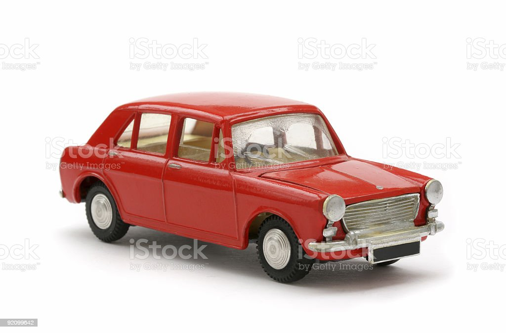 Red Sixties British Toy model car stock photo