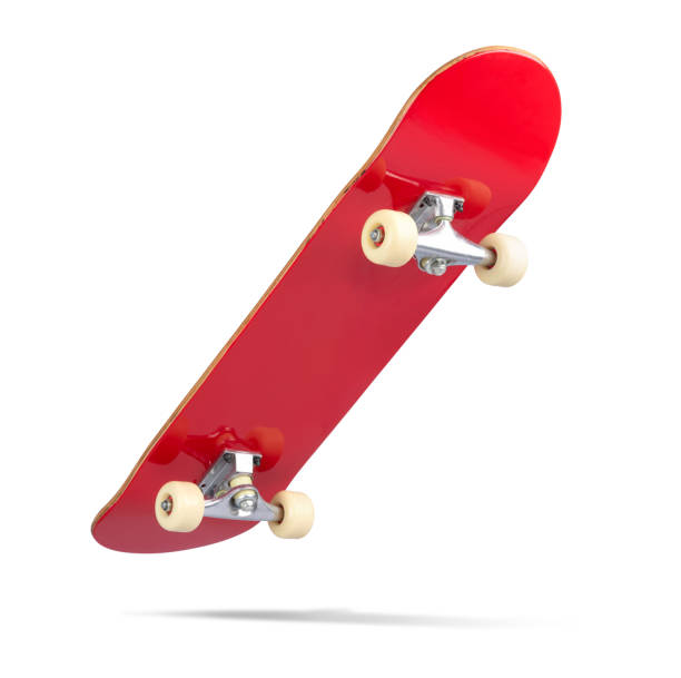 Red skateboard deck, isolated on white background. File contains a path to isolation Red skateboard deck, isolated on white background. File contains a path to isolation skateboard stock pictures, royalty-free photos & images