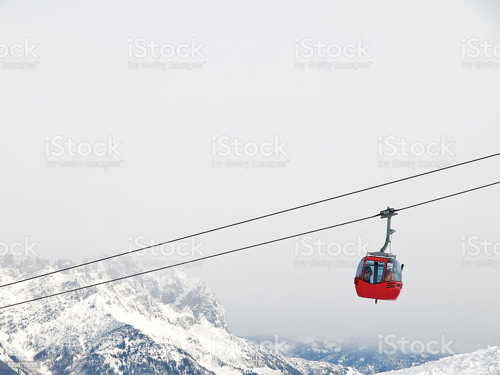 red ski lift stock photo