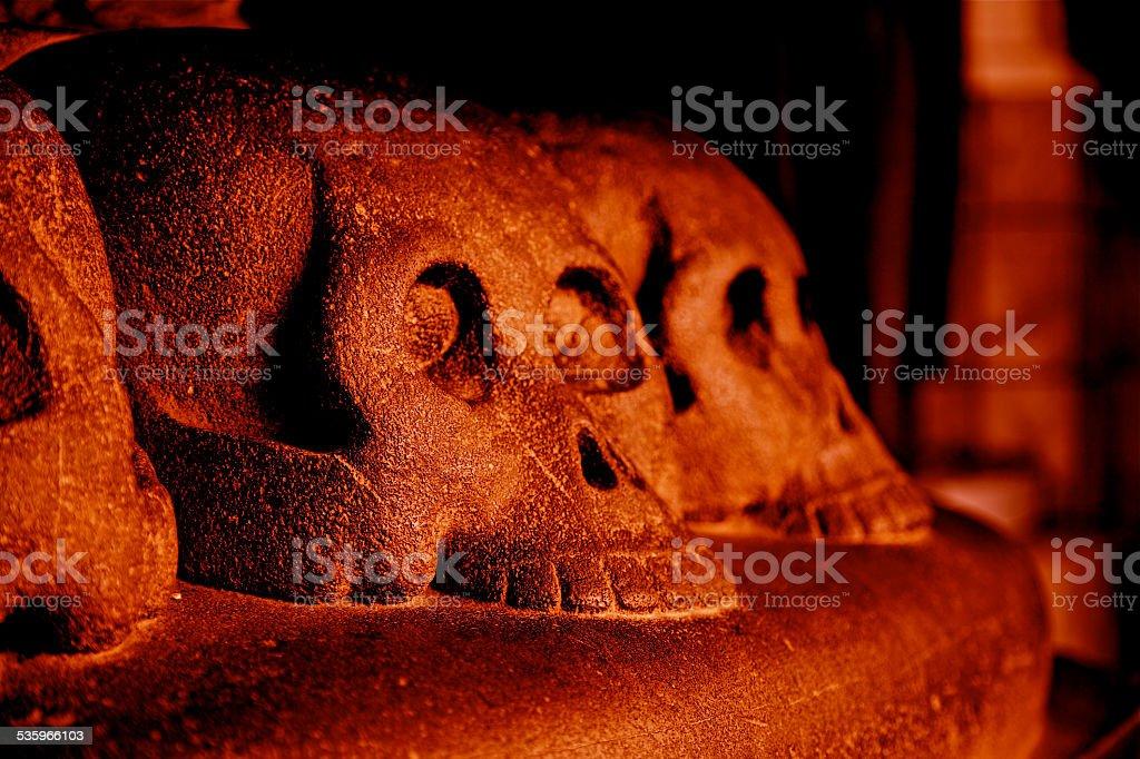 Red Skull Hell Death Fear Danger Evil Curse Spooky Archeology stock photo