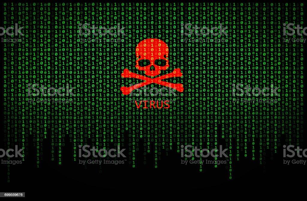 Red skull virus on binary computer code stock photo