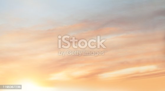 istock Red sky clouds background. Beautiful landscape with clouds and orange sun on sky 1195367236