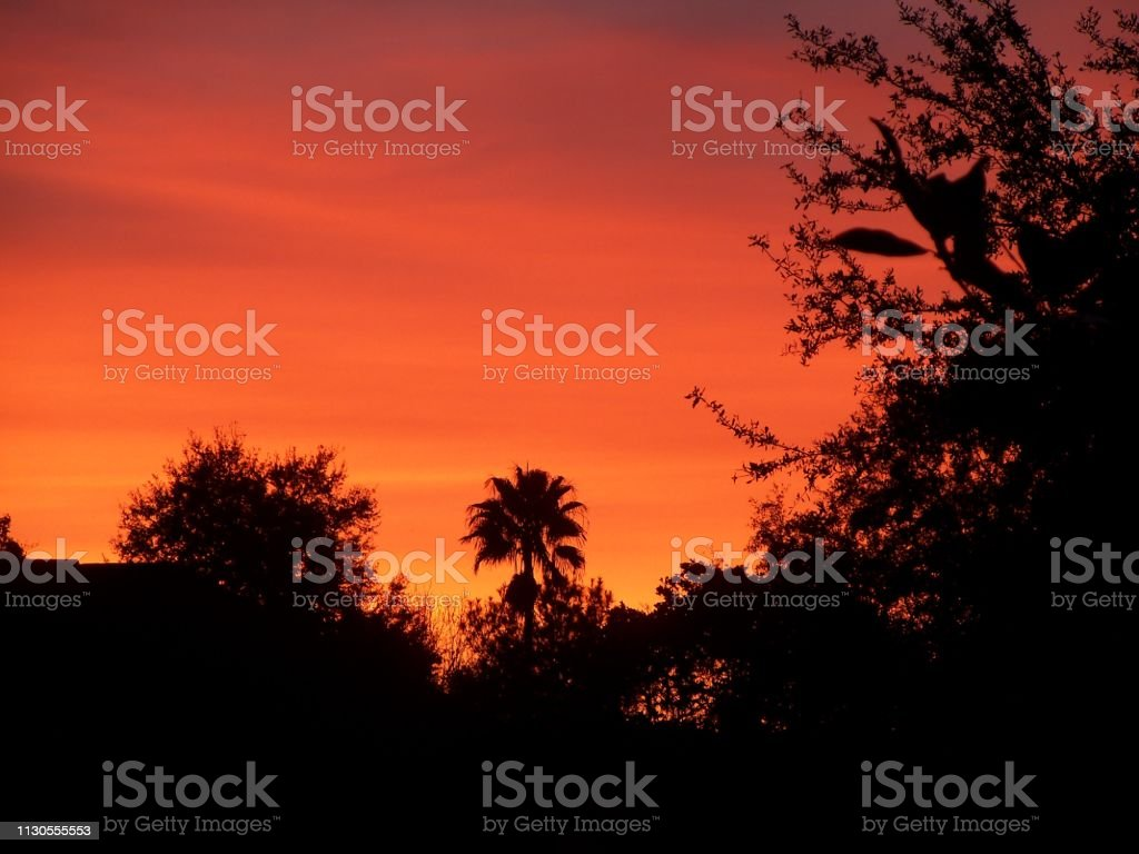 red sky of a winter sunset in Florida stock photo
