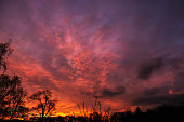 Burning red sky in the country