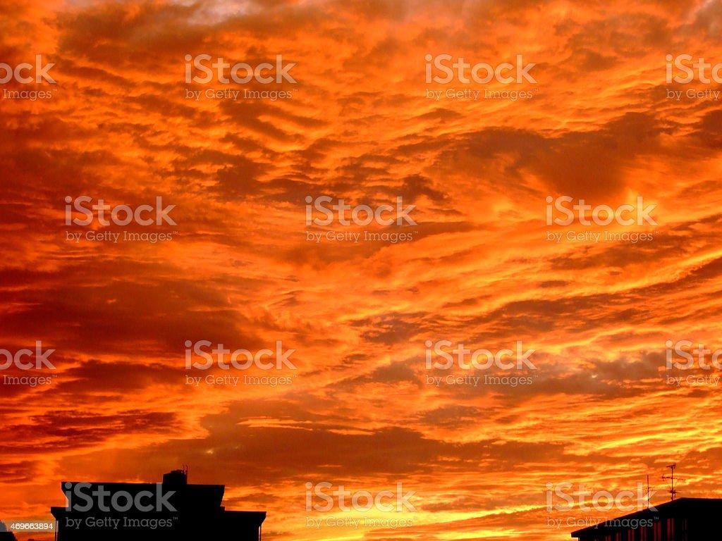 Red Sky at Shizuoka, Japan 2015 Stock Photo