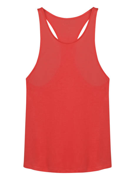 Red sleeveless tee-shirt with copy space isolated on white stock photo