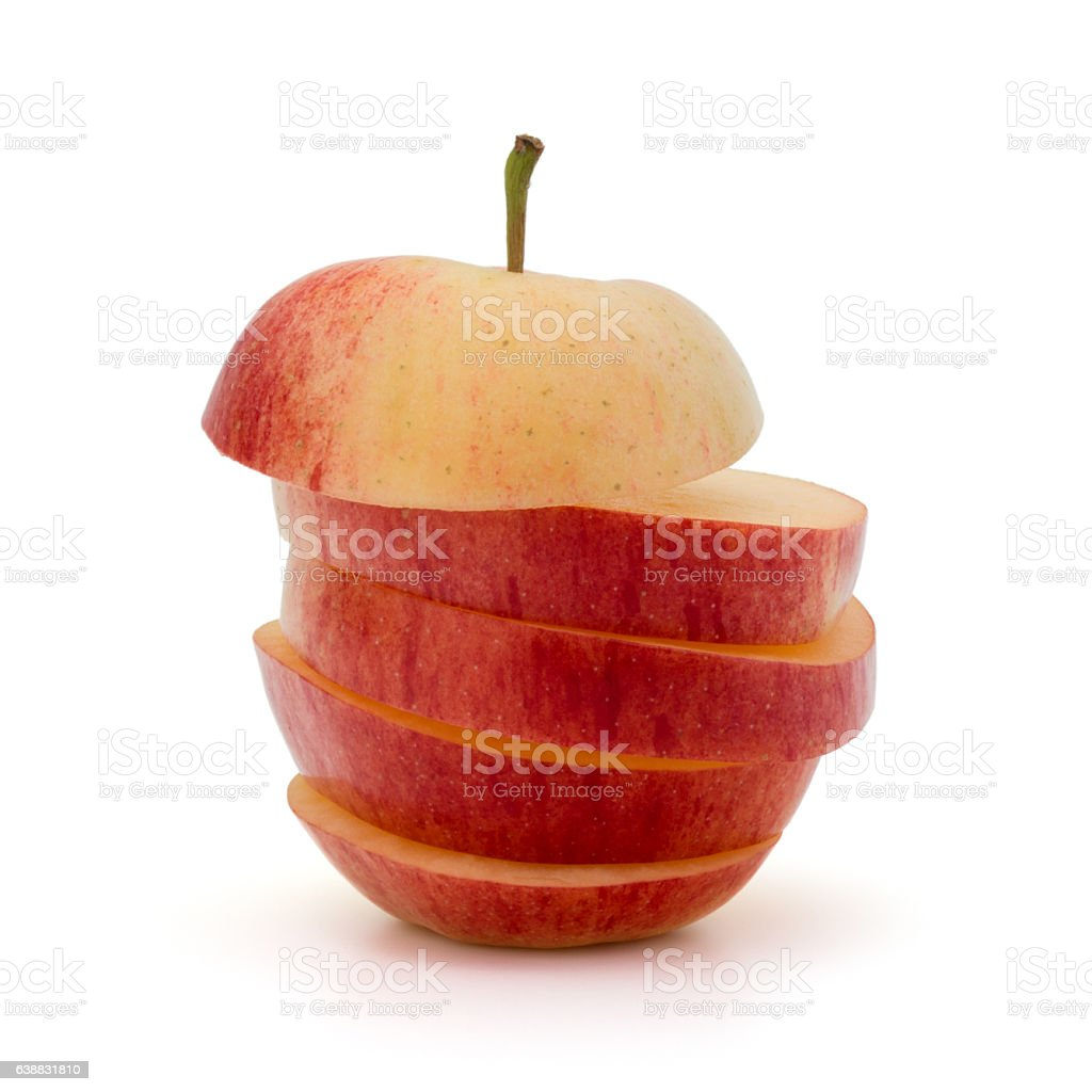 Red sliced apple isolated on white background cutout stock photo