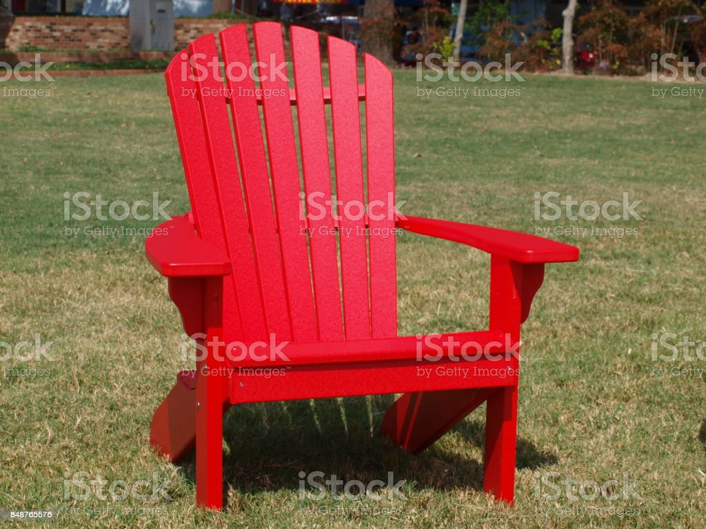 Red Slot Back Chair Is A Favorite Color stock photo