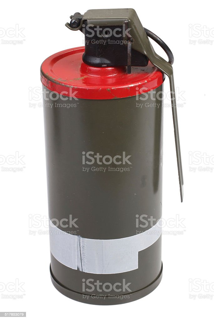 M18 Red Smoke Grenade stock photo