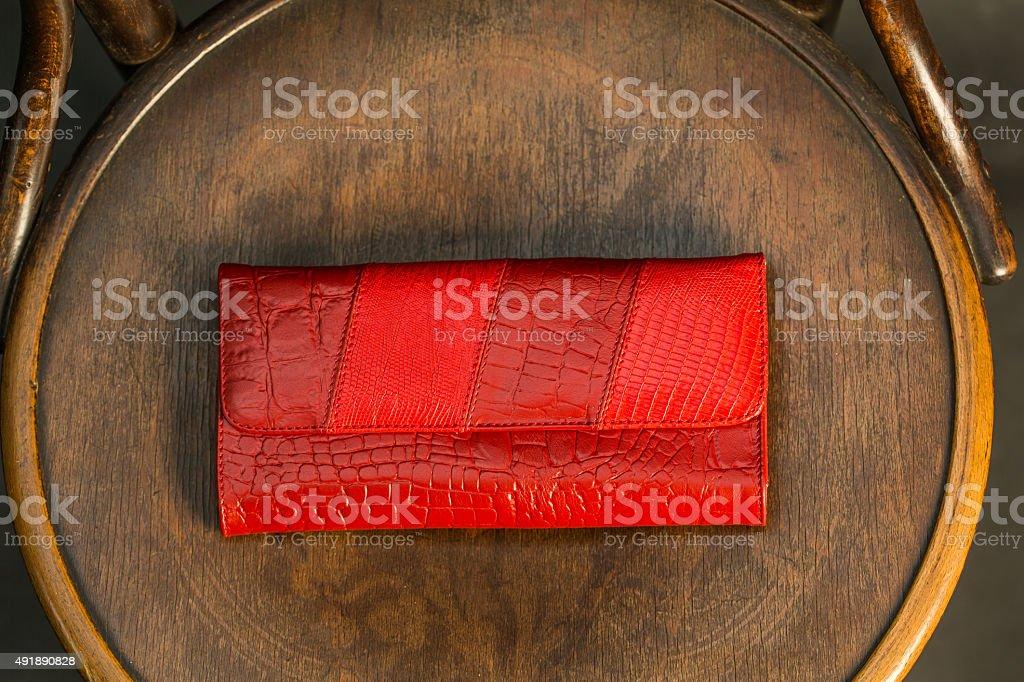 Red, snake skin, wallet stock photo