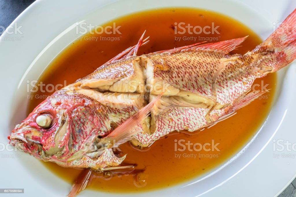 Red Snapper Cooked in Soy Sauce stock photo