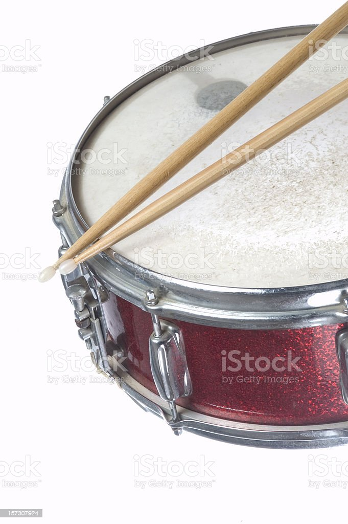 Red Snare Drum and Sticks stock photo