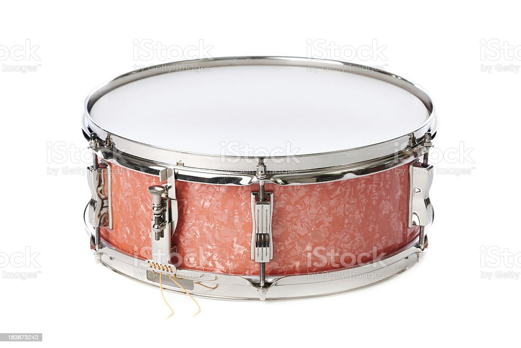 Red Snare Drum Isolated on White Background stock photo