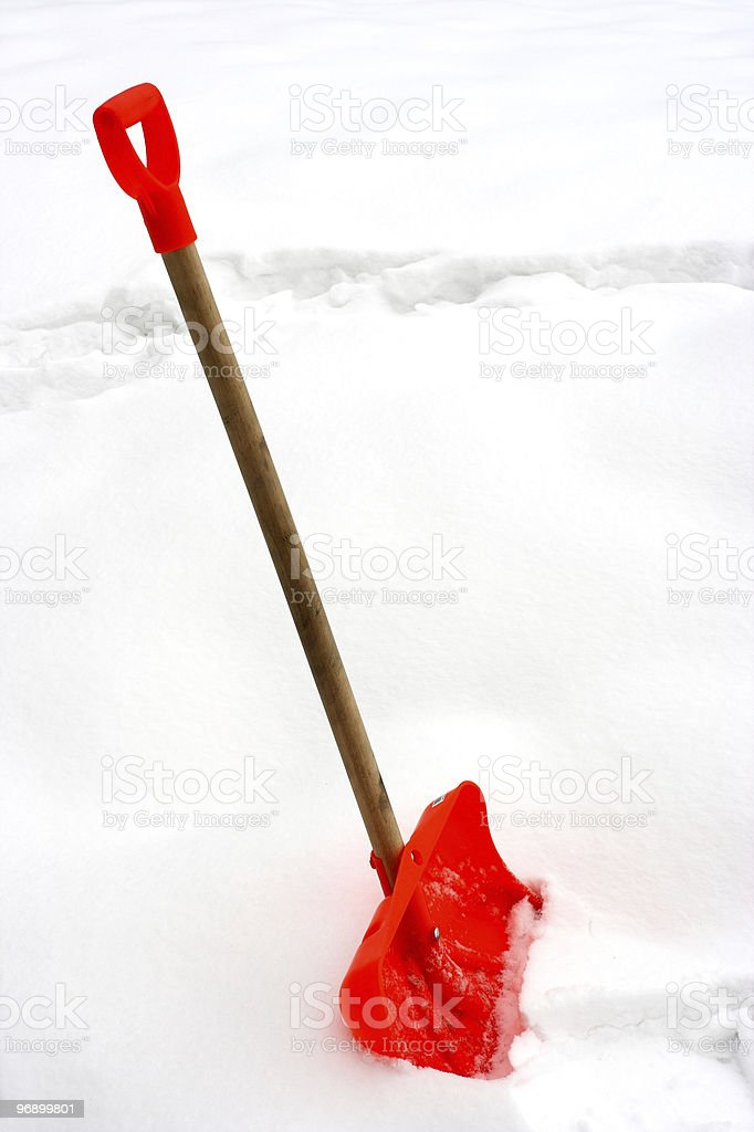 red snow shovel royalty-free stock photo