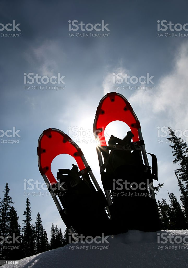 Red Snowshoes royalty-free stock photo