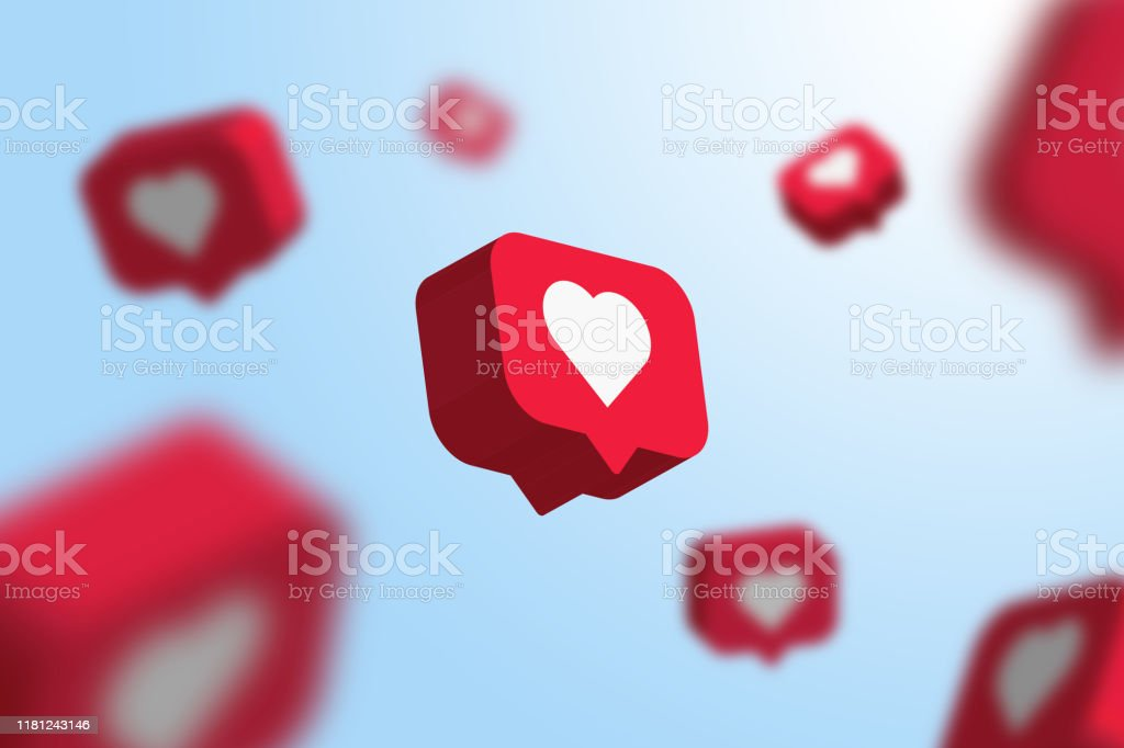 Red social media notification like icon falling . Follow, comment,...