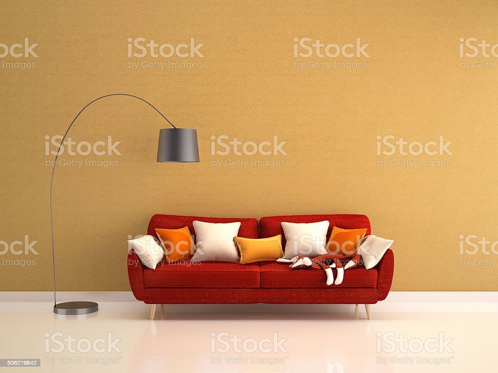Foto De Sof Vermelho E Lumin Ria De Piso No Papel De Parede Em  -> Papel De Parede Para Sala Com Sofa Vermelho