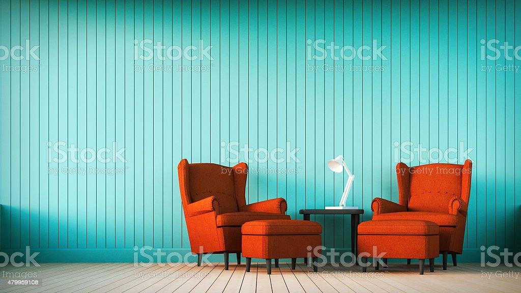 Camera A Righe Verticali : Divano rosso e blu marino parete con righe verticali fotografie