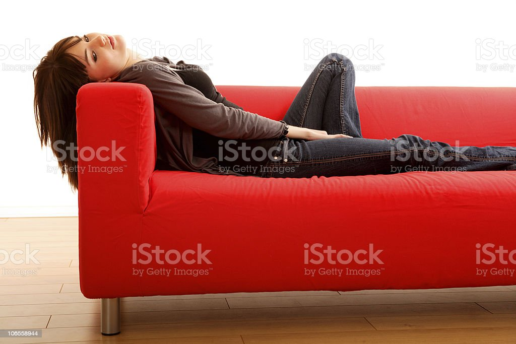 Red Sofa Beauty stock photo