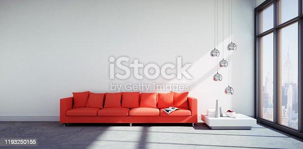 istock Red Sofa in big sunny apartment 1193250155