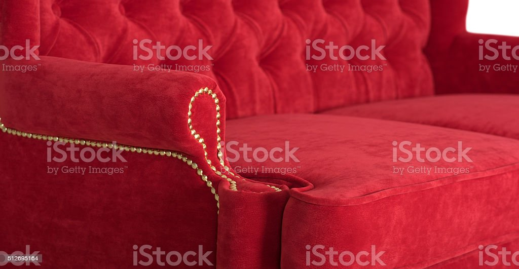 Red sofa in the English style stock photo