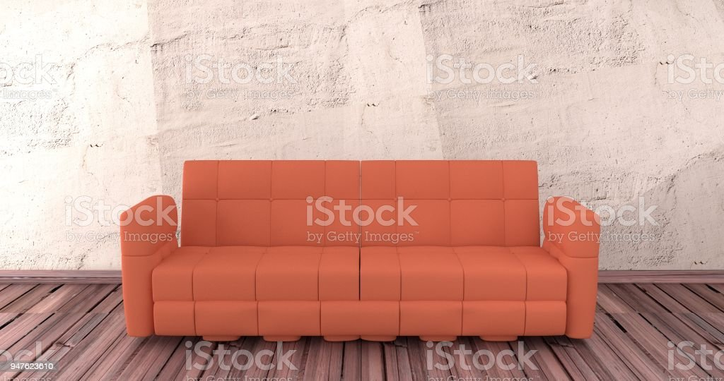 Red sofa is on wood floor with cement background. 3D rendering. stock photo